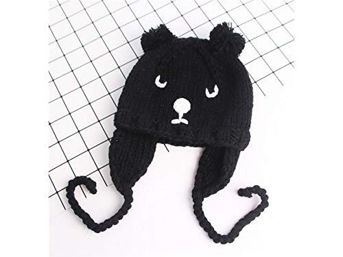 Kleinkind Mütze Kinder Cute Bear Style halten warme Strickmütze Hedging Earmuffs Cap (schwarz) Baby Kopfbedeckung (Farbe : Black, Größe : 45-48cm)