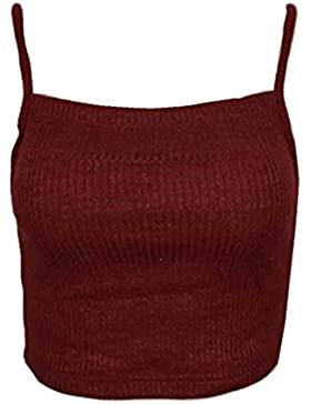 LHWY Mujeres Punto Tops Sin Mangas Camiseta Blusa Casual Crop Tops Camisetas