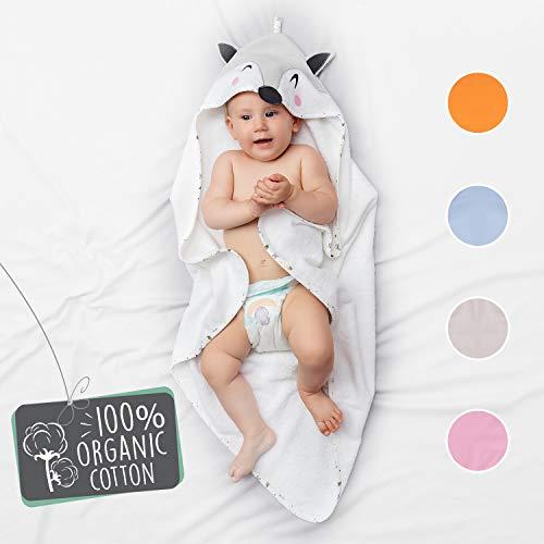 Babybadetuch Mädchen und Junge - Fuchskopf Kapuze - Baby Handtuch Frottee aus 100% Bio Baumwolle, OEKO TEX Zertifizierung, Ohne Chemikalien - Kapuzenhandtuch 70x70 cm, 0-12 Monate - Grau (Handtuch Baby Mädchen Kapuzen)
