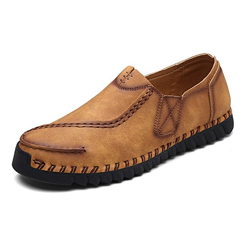Eastlion Herren Leder Boot Schuhe Loafer Slip auf Deck Schuhe Braun