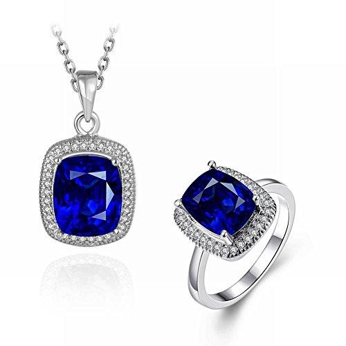 Klassische Mode Farbigen Edelstein Eingelegten Edlen Dame Halskette Ring 2 Sätze , Platin (Farbige Ringe Edelstein-hochzeit)