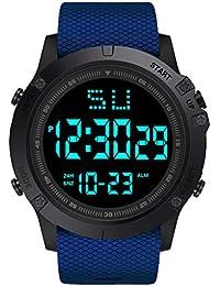 Mymyguoe Reloj electronico Moda Hombres LED Fecha Digital Deporte Militar Reloj de Cuarzo de Goma Alarma