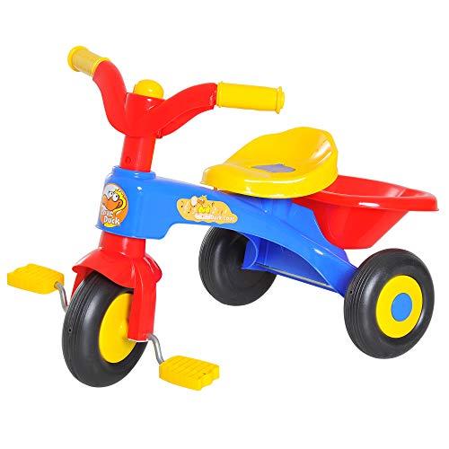 HOMCOM Triciclo a Pedali con 3 Ruote e Clacson per Bambini in Plastica PP 60 × 42 × 45cm Colorato