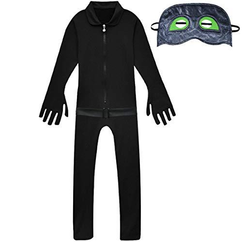 Kind Kostüm Black Cat - Memory meteor Cat Noir Kostüm Für Kinder, Black Cat Noir Cosplay Costume Jumpsuits Set Marinette Kostüm für Jungen Kinderkarneval,M