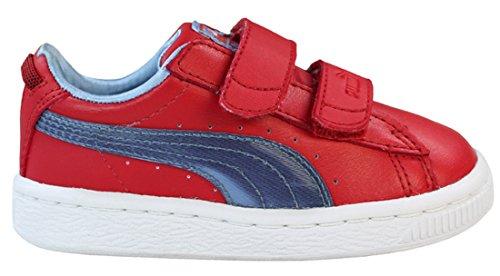 PUMA-bASKET pour enfant coloré v jR chaussures Rouge - Rot/Blau