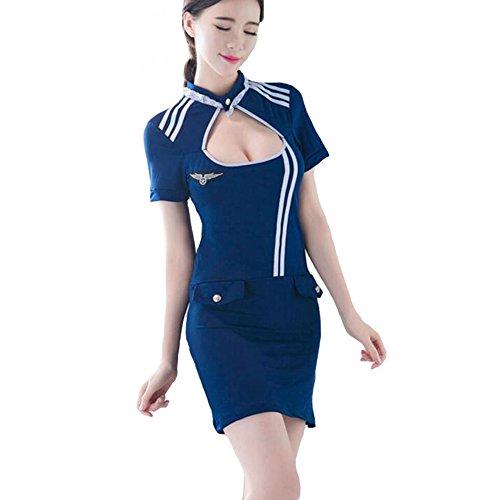 CJC Sexy Unterwäsche Stewardess Uniform Rolle abspielen Kleid Kostüm Komplett Outfit (Farbe : 1, größe : One Size) (Vintage Stewardess Kostüm)