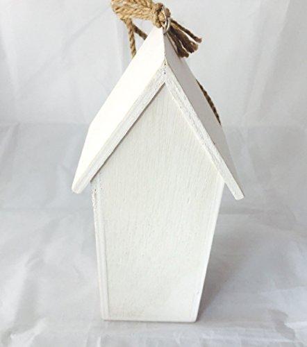 Vogelhaus Nistkasten aus Holz grün zum hängen mit Schmetterlingen mit herausnehmbarem Innenteil und Futtertrog innen, 25cm x 9cm x 8cm Gesamtlänge ca. 50cm dank Kordel zum hängen, - 6