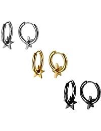 53452c3e2dcd JewelryWe Pendientes de Aros 14mm Estrellas Pendientes de Hombre Mujer  Acero Inoxidable