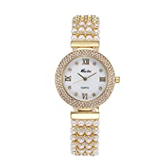 Idea Regalo - Orologio donna stile ol orologio al quarzo perla–cristallo Exquise regalo orologi (oro)
