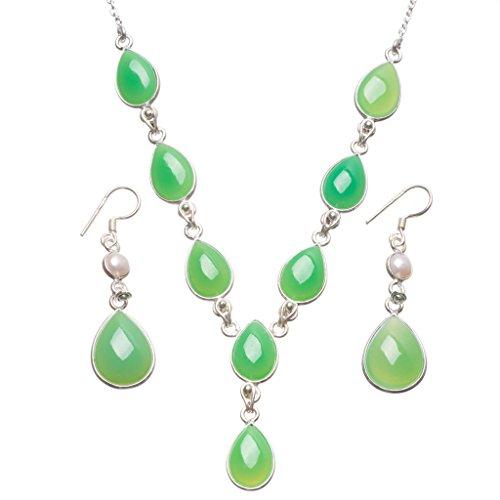 stargems (TM) natur Chrysopras und Fluss Perle Handgefertigt Indian 925Sterling Silber Schmuck-Set, Ohrringe: 5,1cm Halskette: (Kostüm Schmuck Australien)