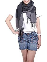 Großes Damen Schultertuch Wende Schal Umhang Cape mit Fransen schlicht - erhältlich in verschiedenen Farben