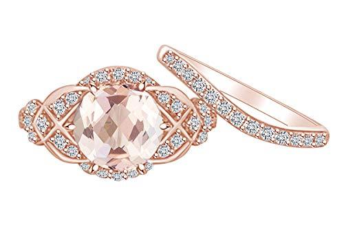 AFFY Verlobungsring aus massivem Rotgold, 2,7 Karat, rund, künstlicher Morganit und natürlicher Diamant, Vintage-Stil, 14 Karat (Morganit Vintage-ring Mit)