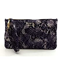 DIMONI Bolso Piel Cartera de Mano 14 x 25 x 1 Made in Spain MORADO