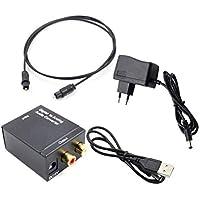 Adaptador convertidor de Audio Digital a analógico Toslink óptico y coaxial R/L