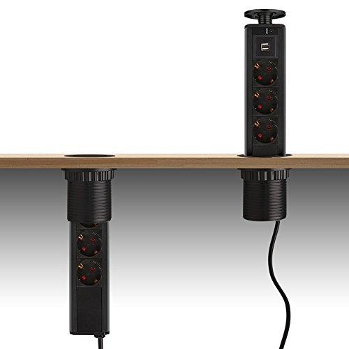 Dazone® versenkbar Tischsteckdose 3-fach USB Mehrfachsteckdose küche Voll Schwarz