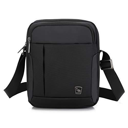 OIWAS Umhängetasche Herren Klein Schwarz Schultertasche Mini Messenger Bag Tasche für Handy Tablet Urlaub Reise Ausflug Spaziergang und Wandern