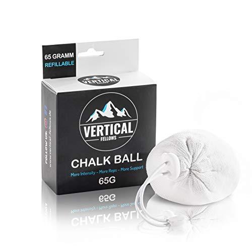 VERTICAL FELLOWS Chalk Ball 65 Gramm wiederbefüllbar - idealer Kreide & Magnesia Chalkball für Klettern Bouldern Turnen Gewichtheben Cross Fit Pole Dance