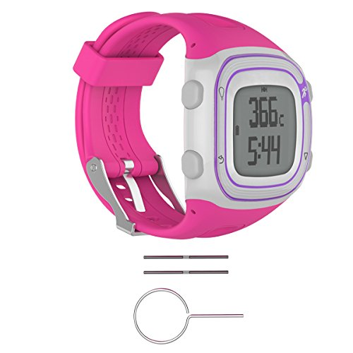 Bluelover Silikon Armband Band + Werkzeuge Für Garmin Forerunner 10/15 Gps Running Uhr - L - Rosa