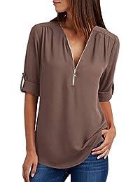 f8b41abaaba368 Camicia Donna Camicette Chiffon Oversize Camicie Manica Lunga Scollo V  Cerniera Blusa Cerimonia Signora Eleganti Camicetta