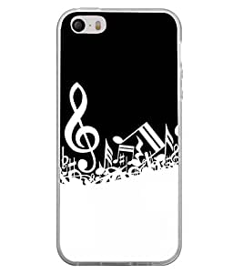 Fiobs Designer Back Case Cover for Apple iPhone 4 (Music Musical Black And White Patterns Designs )
