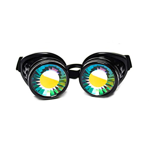 Kaleidoskop Kostüm - GloFX Wurmloch Kaleidoskop Brille-Festival Rave Kostüm Cosplay Prisma EDM 3D Schweißen Gothic Brille