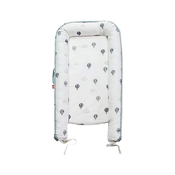 YANGGUANGBAOBEI Baby Lounger,for Baby Organic Cotton, Virgin Fiberfill - Bedroom/Travel Camping,Suitable From 0-24 Months,Green YANGGUANGBAOBEI [Portable]: The lightweight design makes the baby lounger easy as a bassinet for a bed, or travel bed. Makes baby feel more secure and cozy. [Breathable Material]: Made of 100% cotton fabric and high quality 3D polymer material filler. Safe to baby's sensitive skin. It can give your baby safe and just like sleeping in the mother's arms, enjoying more deep sleep. [Creative Design]: The baby lounger simulates the bionic design of the uterus, like sleeping in the mother's arms, enjoying more deep sleep, and reducing the frequency of putting kids go to bed. 7