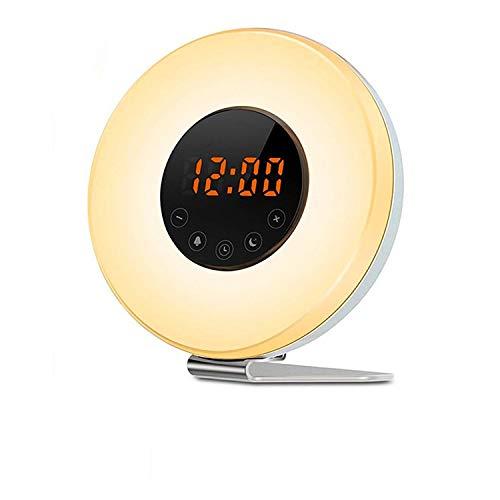 Rybozen Wake Up Licht, Lichtwecker Wecker für Kinder Aufwachen, Mit Sonnenaufgang/Sonnenuntergang Simulation, FM-Radio, Schlummer Funktion (Regenbogenfarben)
