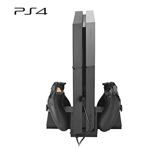 Anpress 2 in 1 PS4 Vertical Cooling Cooler Fan Stand & Dual Charging Dock ,Low and High Fans Speed Gear Switch, Dual Charger Dock Ports Charging Station for Sony Playstaion 4 / Dualshock Controllers by Anpress - Dual-4-speed-fan