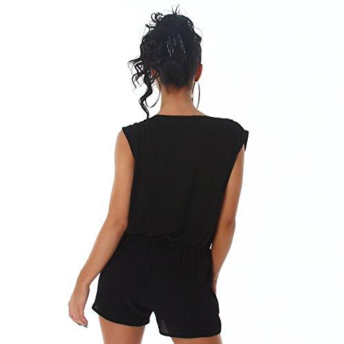 Voyelles Damen Overall Anzug Hausanzug Jumpsuit Bodysuit Einteiler Hosenkleid Hosenanzug Schwarz