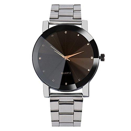 JiaMeng Cuero Banda Anal¨gico Reloj de Pulsera de Cuarzo Anal¨gico de Acero Inoxidable cristalino de Moda para Hombre(Plata)