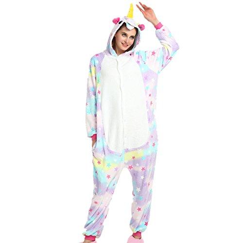 jysport Unicorn Schlafanzug Unisex Animal Fleece mit Kapuze Cosplay Kostüm Pyjama, für Kinder, Ladie, Man, Star (Anzüge Für Erwachsene Tier)