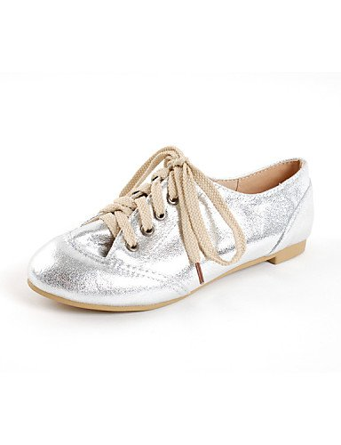 ZQ Scarpe Donna - Stringate - Tempo libero / Ufficio e lavoro / Formale / Casual - Comoda / Punta arrotondata - Piatto - Finta pelle - , golden-us10.5 / eu42 / uk8.5 / cn43 , golden-us10.5 / eu42 / uk silver-us5 / eu35 / uk3 / cn34