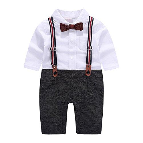 G-Kids Baby Jungen Strampler Smoking Gentleman Anzug Kleinkinder Sommer Kleidung Outfit Fliege Taufkleidung (Schwarz, 70/3-6 Monate)