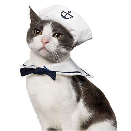 Bello Luna Simpatico vestito da marinaio blu scuro per cucciolo e gatto, compresi cappello e colletto per Halloween Cosplay
