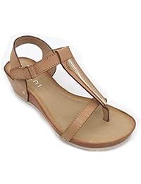 Sandalias de Cuero de la Plataforma Abierta del Dedo del pie de la Mujer del Zapato