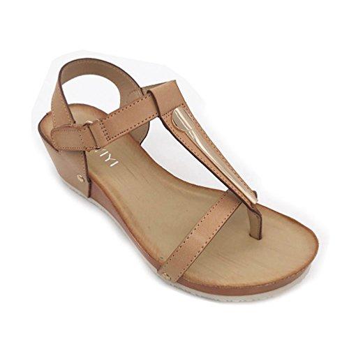 JRenok Damen Sandalen Open Toe Plattform Sandalen aus Weichem Leder Riemchen Sommerstrand Outdoor Damenslip auf Keil Sandale - Sandalen Für Frauen-plattform Qupid
