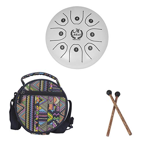 "Royalr 5,5"" Edelstahl Zunge Buddhismus Meditation Schlaginstrument Worry-Free Sound-Metal-Drum Sticks Bag"