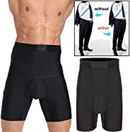 Men Tummy Control Shorts High Waist Slimming Underwear with Open Fly Body Shaper Belly Girdle Boxer Briefs but