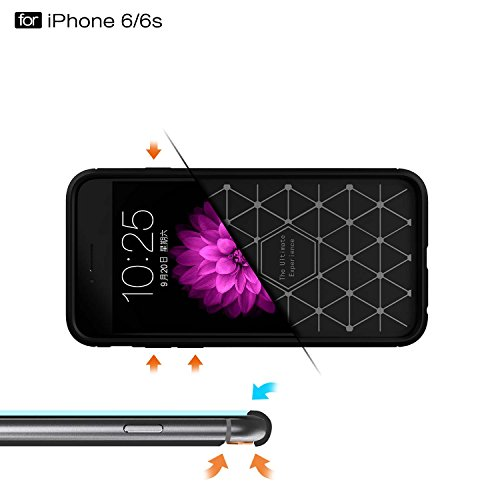 Coque iPhone 6 Plus, MSK® Coque iPhone 6S Plus Fibres de Carbone TPU Anti Choc Housse Etui Premium Coque Anti Poussiere Shock Absorption Cover Case Pour Apple iPhone 6 Plus/6S Plus (Gris) Bleu marine