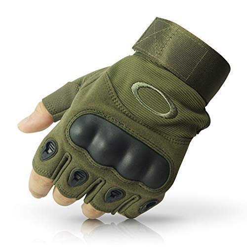 LATUKI Nylon Tactical Half Finger Gloves for Sports, Hard Knuckle,Hiking,Cyclling,Travelling,Camping,Outdoor,Boxing, Motorcycle Riding, Arm Shooting Gym Gloves | Army Green Colour