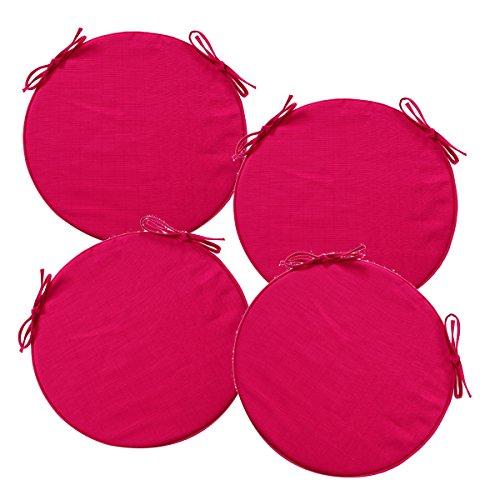 Lot-de-4-Galettes-de-chaises-rondes-dhoussables-et-avec-attaches-Spcial-Extrieur-Coloris-ROSE-Framboise