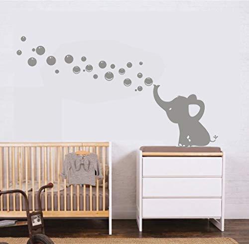 MAFENT Un Adorable Elefante Soplar Burbujas Wall Decal Vinilo Etiqueta de la Pared Para Cuarto de Niños Bebe Habitación Decoraciones (Gris,Izquierda)
