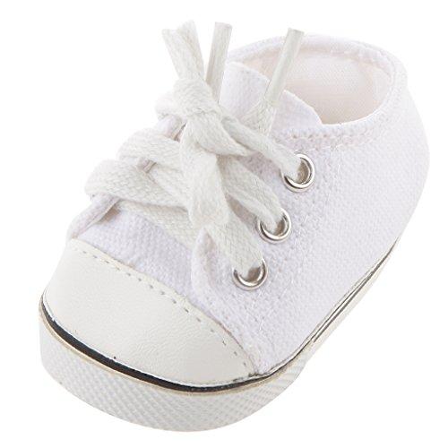 Sharplace Weiße Puppenschuhe Leinwand Turnschuhe Für 18 Zoll American Girl Puppen Zubehör - 7cm