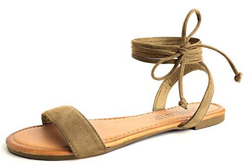 SANDALUP - Sandali da Donna con Cinturino in Flanella, (Neue-Braun), 38 EU