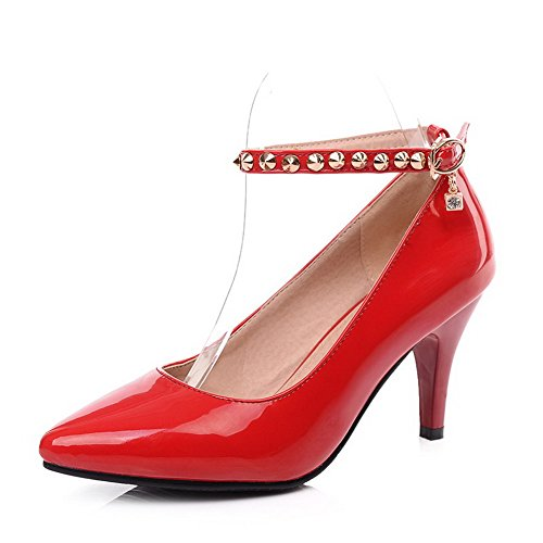 VogueZone009 Donna Luccichio Puro Fibbia Scarpe A Punta Tacco Alto Ballerine Rosso