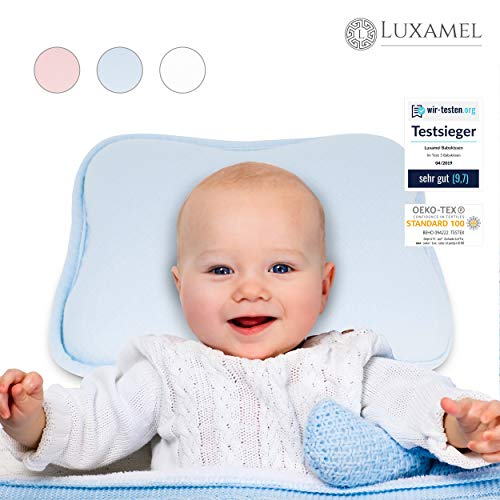 Luxamel | Orthopädisches Babykissen | Ergonomisches gegen Plattkopf und Verformung | Für Säuglinge und Kleinkinder | 100% Schadstofffrei | Blau - Für Kopf-kissen Kinder
