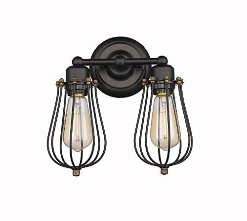 CLAXY Wandleuchten 2-flammig Wandlampen Antik Deko Design Schwarz Draht Korb (ohne Birne) (Antik-draht-körbe)