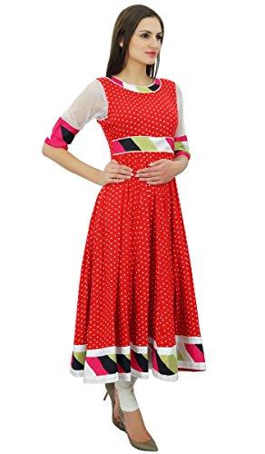 Bimba ethnique rouge Anarkali kurti maxi kurta parti usure des pour femmes Rouge