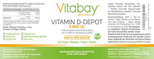 Vitamin D-Depot 5.600 I.E. Wochendosis - 800 I.E. pro Tag - 120 vegane Tabletten - 2