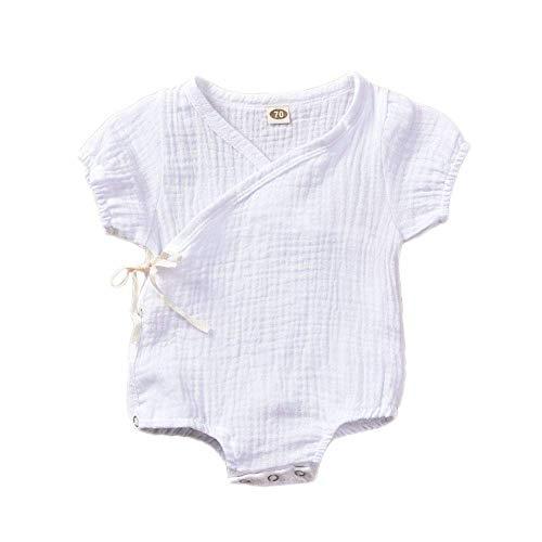 WANGSAURA Kleinkind Baby Mädchen Junge Outfits Einfarbig Strampler Kurzarm Spielanzug Side Snap Baby Toddler Baby Neugeborenes Kinderkleidung